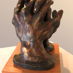 """Clasped Prayer"" - Clay with Oil Paint  and Wax Patina"