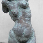 Blue Torso - fired clay with metal patina