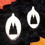 handgesägte Löffelamulette, hier der Kölner Dom