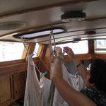Bei Schauern wird die Wäsche innen aufgehängt