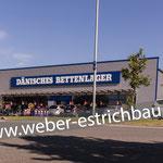 (2016) - Neubau Werbeanlage, Dänisches Bettenlager, 37327 Leinefelde - selbstklebende Abdichtung, Fugen mit Epoxidharz, Zementestrich