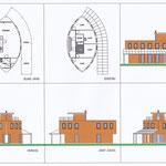 Ellipsvormige plattegrond in houtskelet, carport/veranda van zonnepanelen.
