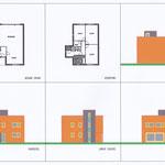Woning met plat dak, torenvormige entree en op 2e verdieping torenkamer.