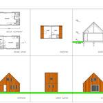 Zeer kleine houtskelet woning met roestbruine stalen gevel-en dakpanelen
