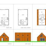 Middel grote houtskelet woning met roestbruine stalen gevel-en dakpanelen