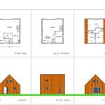 Kleine houtskelet woning met roestbruine stalen gevel-en dakpanelen