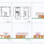 Geschakelde woningen met platte daken, opbouw in houtskelet.