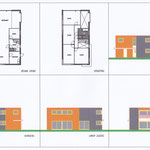 Woning met plat dak, 2 kleuren gevelklinker.