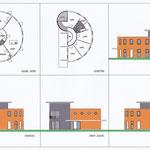 Torenwoning, halfronde plattegrond in houtskelet, toren in antraciet gevelklinker.