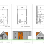 Grote houtskelet woning met grijze/roestbruine stalen gevel-en dakpanelen