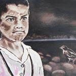 Junge mit Vogel 60 x 80 cm, verkauft