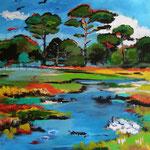 Landschaft 120 x 120 cm
