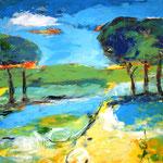 Landschaft 140 x 140 cm