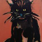 Katze auf Papier, 80 x 60
