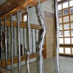 Treppengeländer Stahl und Altholz