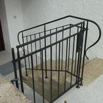 Geländer geschmiedet , genietet mit integrierter Türe