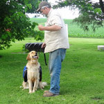 Gale Kopp working with newly cooperative Nick on Obedience Commands.