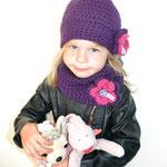 Ensemble Kindermütze JOYANNA und LOOP in violett