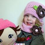Ensemble Kindermütze JOYANNA und Loop rose