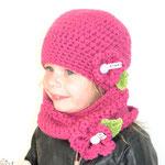Ensemble Kindermütze JOYANNA und LOOP in pink