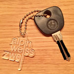 alpinweisszwei Schlüsselanhänger mit Kette (ungekürzte 15 cm)