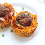 "baked spaghetti and meatball ""nests"" recipe"