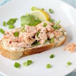 open faced fresh salmon salad sandwich