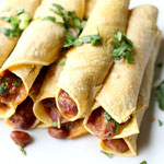 Baked vegetarian chili cheese taquitos