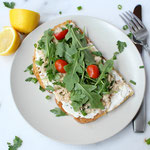 open-faced garden tuna sandwich