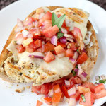 open-faced Italian chicken bruschetta sandwich
