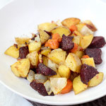 roasted garlic-thyme beets, potatoes, and carrots