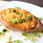 easy vegetarian twice baked broccoli cheese sweet potato recipe
