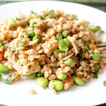 vegetarian barley fried rice with edamame