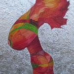 Macht des Feuers 70 cm x 90 cm Leinwand auf Keilrahmen Tempera, Öl, Struktur, Schlagmetall