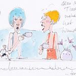 Antje Püpke . Der Tischläufer . Cartoon . als Postkarte 2,-€
