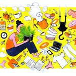 """Illustration zum Thema """"Dem Alltag entfliehen"""""""