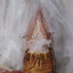 "From the series ""Lingerie""(detail.) Textile, acrylic paint, thread, polyester fiber. 18"" X 17.5"" & 29"" X 4""."