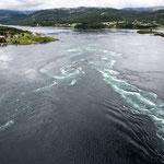 Saltstraumen grösster Gezeitenstrom der Welt bis 37kmh