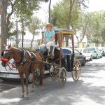 Claudia auf der Kutsche .... Der Kutscher bestand darauf, dass sie auf den Bock steigt