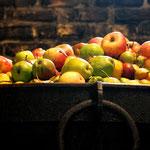 De ketel is gevuld met peren (60%) en appels (40%).