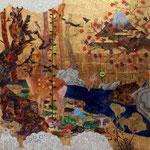 「 AUTUMN SALE 」   アクリル,油彩,金箔,キャンバス  162×162cm  2011年
