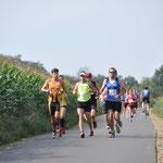 Noch schön im Windschatten (links hinter dem gelben Läufer)