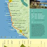Streckenverlauf und Höhenprofil des Marathonkurses (1 Meile = 1,61 km; 1 foot = 30,5 cm)
