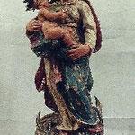 Madonna con bambino in legno dipinto, bottega toscana sec. XVIII