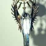 Reliquiario con angelo reggiteca. Bottega italiana sec. XX