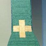 Stola di colore verde con motivo verticale. Manifattura italiana sec. XIX