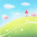 桜咲く丘の上の教会