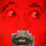 Portrait pixels - Acrylique et mine graphite sur toile marouflée sur bois (125x80cm)
