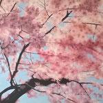 Cerisier en fleurs - Acrylique sur toile (130x90cm)