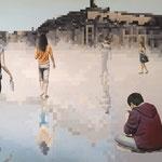 Miroirs - Acrylique et mine graphite sur toile marouflée sur bois (125x84cm)